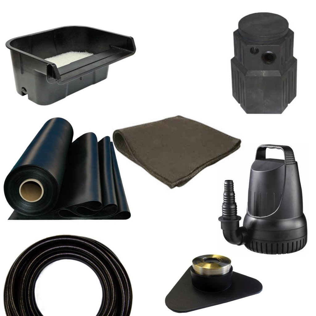 7.5' x 20' Small Pondless Waterfall Kit, Anjon 16'' Waterall & Pondbuilder PB1366 Mini Pump Canyon, 3,300 GPH Pump - PSH30