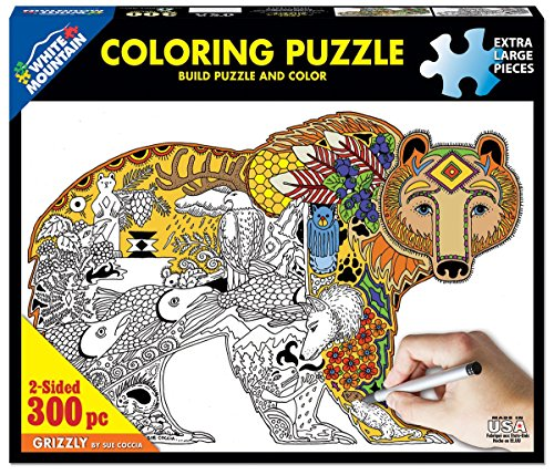 Amazon.com: White Mountain Puzzles Grizzly Coloring Puzzle - 300 ...