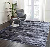 Shag Shaggy Fuzzy Fluffy Furry Contemporary Modern Solid Thick Plush Soft Pile Living Room Bedroom Area Rug Carpet Gray Grey Charcoal Two Tone Color Large 5×7 Sale Cheap Discount (Aroma Gray) Review