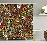Ambesonne Casino Shower Curtain, Doodles Style Artwork of Bingo and Cards Excitement Checkers King Tambourine Vegas, Fabric Bathroom Decor Set with Hooks, 105 inches Extra Wide, Multicolor