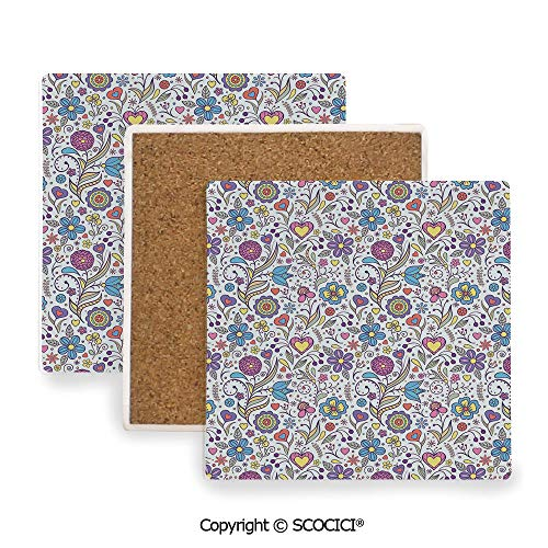 - Ceramic coaster With wood Bottom Protection, For Mugs, Wine Glasses, Protects Furniture Square,Pastel,Peonies Daisies Tulips Colorful Doodle Style Cute,3.9