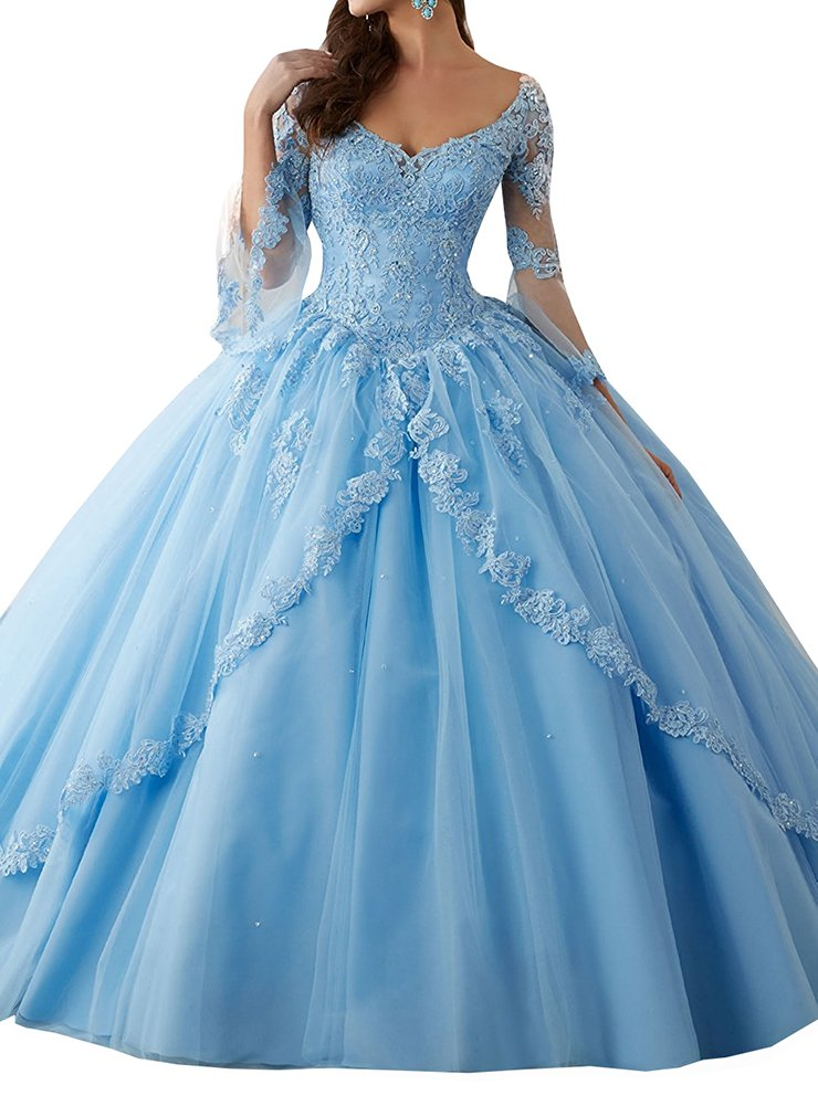 Annadress Women's Long Sleeve Lace Quinceanera Dresses Train V-Neck Ball Gown Blue US22