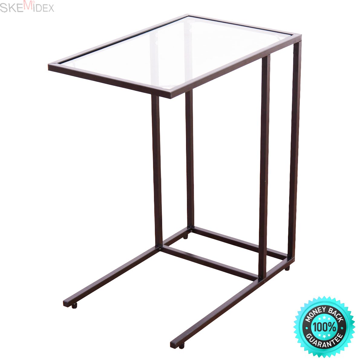 SKEMiDEX---Coffee Tray Side Sofa End Table Ottoman Couch Stand TV Lap Snack W/Glass Top New. Can be used as end tables, lamp tables, decorative displays tables, or simply accent pieces by SKEMiDEX (Image #1)