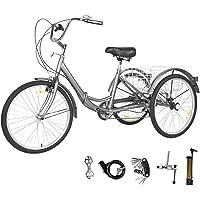GNEGNIS Triciclo para Adultos con cestas, 7 Marchas, Bicicleta de Triciclo Plegable con…