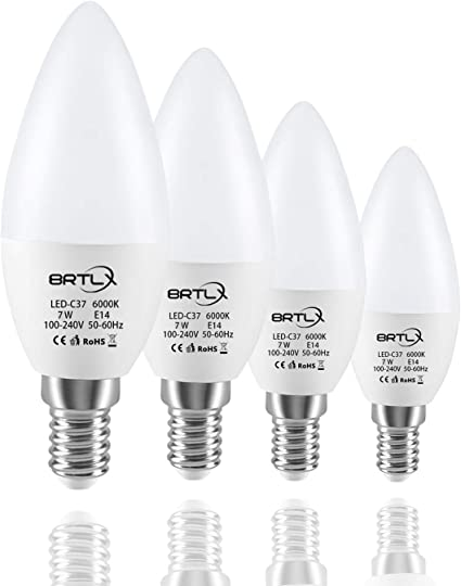 Imagen deBRTLX Bombillas de Vela LED E14,7W Equivalente a 40W,Blanco Frío 6000K,560 Lúmenes,No Regulable Pack de 4 Unidades           [Clase de eficiencia energética A+]
