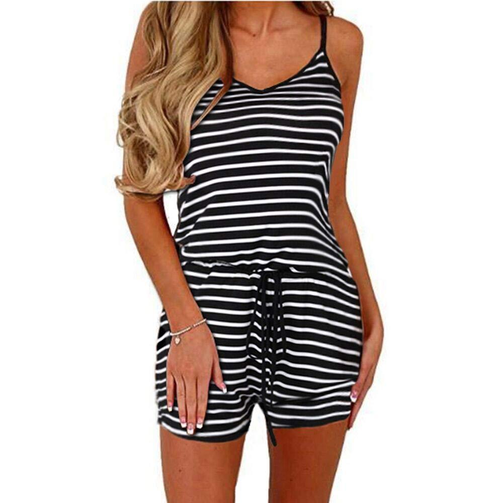 Dreamskull Women Summer Casual Spaghetti Strap Adjustable Waist Drawstring Short Jumpsuit Solid Cami Romper for Girl (S, Black Stripe)