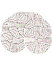11.8 Inch Round Braided Cotton Placemats Set of 6, Non-Slip/Heat Insulation/Washable placemats for Dining Table, Dinner Parties, BBQs, Christmas Parties and Everyday Use Indoor Outdoor