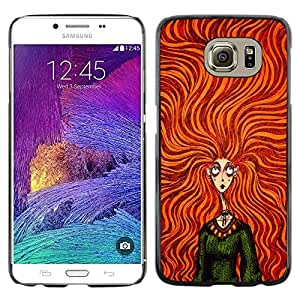 LECELL--Funda protectora / Cubierta / Piel For Samsung Galaxy S6 SM-G920 -- Orange Girl Hair Green Dress Fashion --