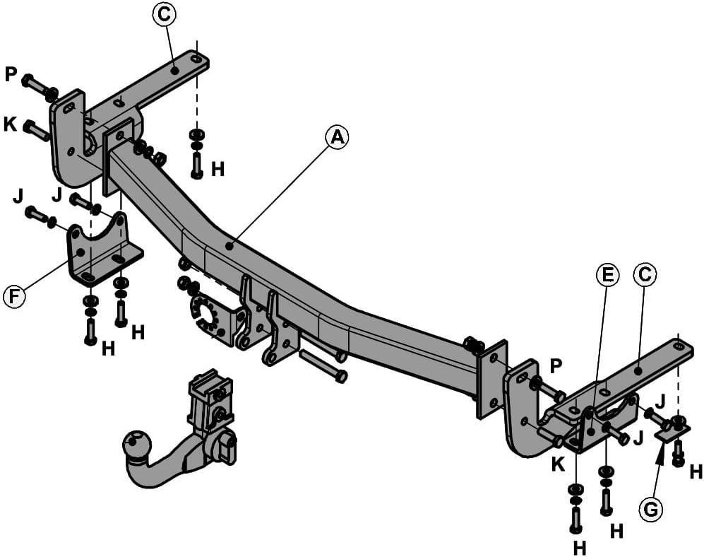 Witter Ty135aq Abnehmbare Anhängerkupplung Für Lexus Rx300 03 07 Rx350 06 10 Rx400h 05 10 Auto