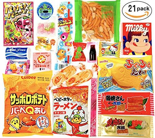 Japanese Snacks 21 set Candy Bulk Box Dagashi Umaibo Snack Gumi potato Chip Kitty chocolate (21 pieces set)