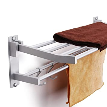Toallero, baño Kasliny Toallero doble para baño, Aleación de aluminio Estante de almacenamiento plegable