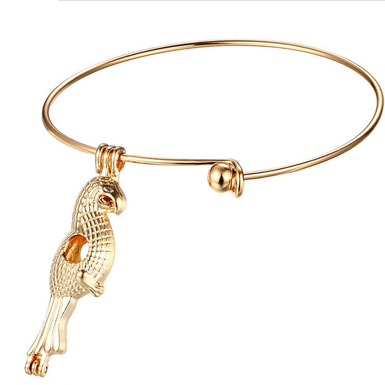 Beydodo Essential Oil Diffuser Bracelet Locket Bracelets Gold Plated Hollow Parrot Charm Pendant