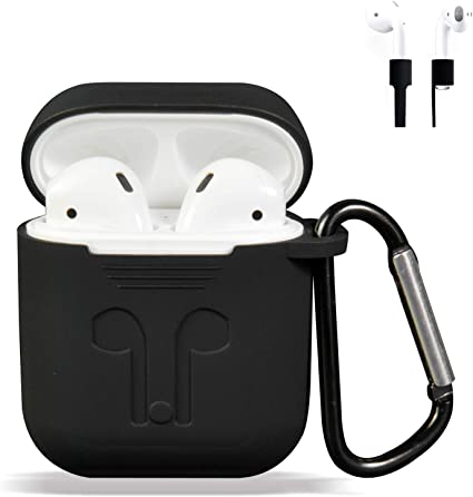 case Airpods Case Protective Silicone Cover and AirPods Accessories Case Skin Compatible with AirPods 2 and 1 A