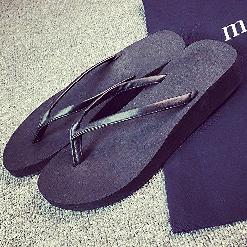 DogHaccd Zapatillas,La palabra zapatillas verano hembra grueso antideslizante bañera bizcocho pendientes con Pasador Playa cool zapatillas Negro1