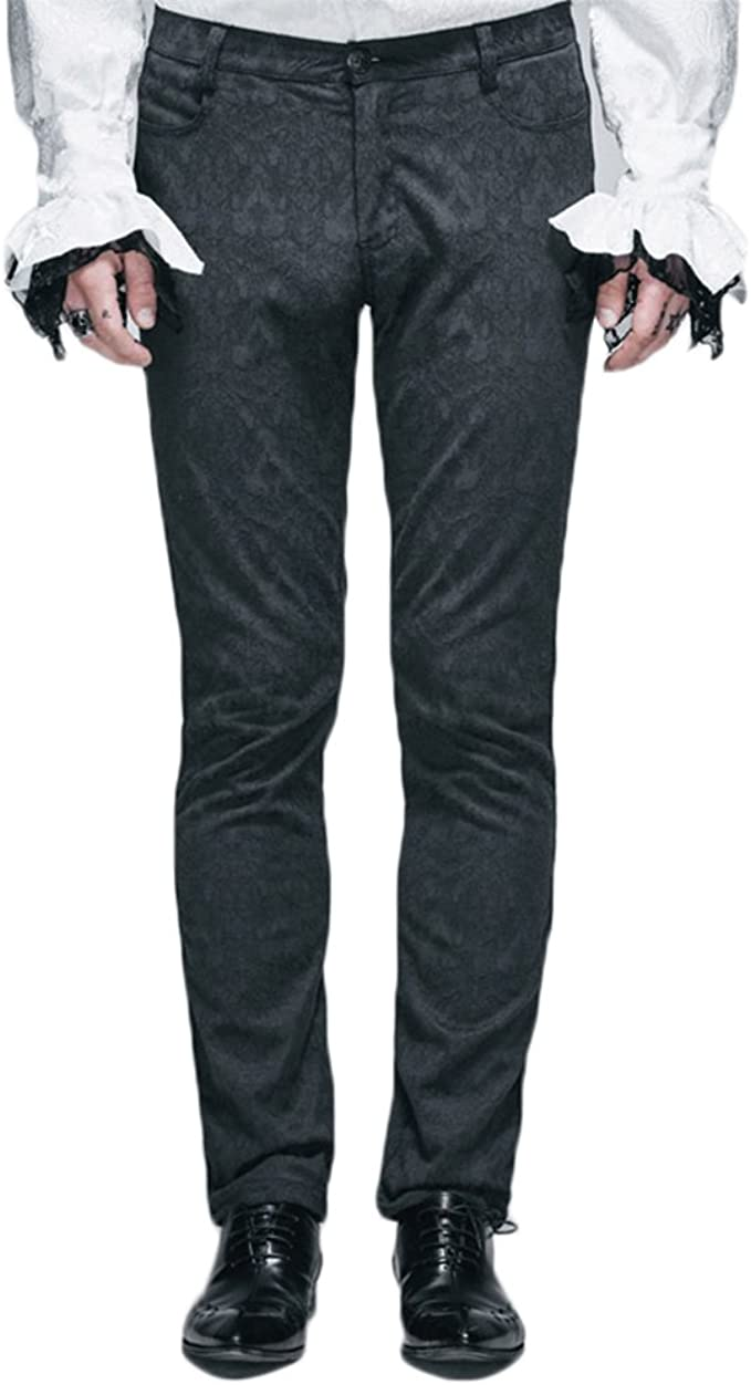 New Devil Fashion Rock Hole Men Pants Trousers Black Gothic Punk Steampunk+Skirt