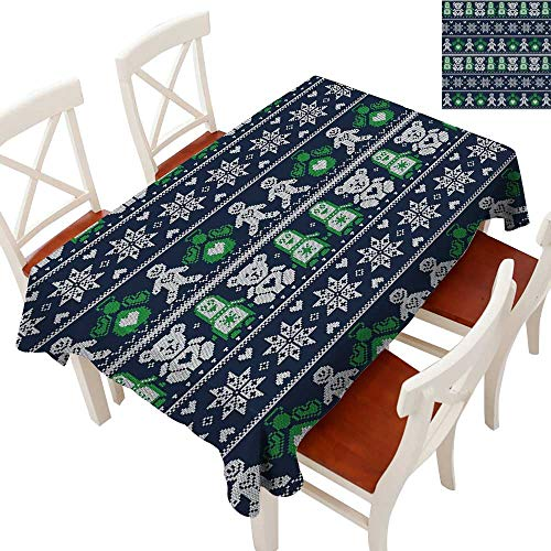 Textured Fabric Tablecloth Scandinavian Style Stitch Penguins Teddy Bears Angels Gingerbread Man Runners, Gatsby Wedding, Glam Wedding Decor, Vintage WeddingsDark Blue Green Whit ()