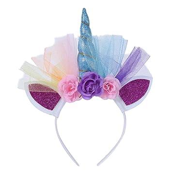 Kanggest Diadema de fiesta unicornio de los niños Decoración de la fiesta de cumpleaños de la venda de la decoración de la fiesta de cumpleaños de ...