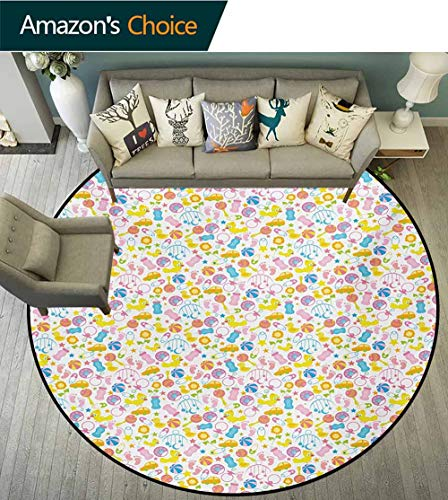 - RUGSMAT Baby Round Kids Rugs,Assortment of Infant Items Toys Footprints Milk Bottles Flower Arrangement Design Learning Carpet Non Skid Nursery Kids Area Rug for Playroom,Round-59 Inch