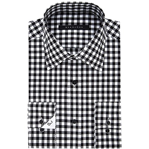 Sean John Tailored Dress Shirt (Sean John Mens Checkered Tailored Fit Dress Shirt B/W)