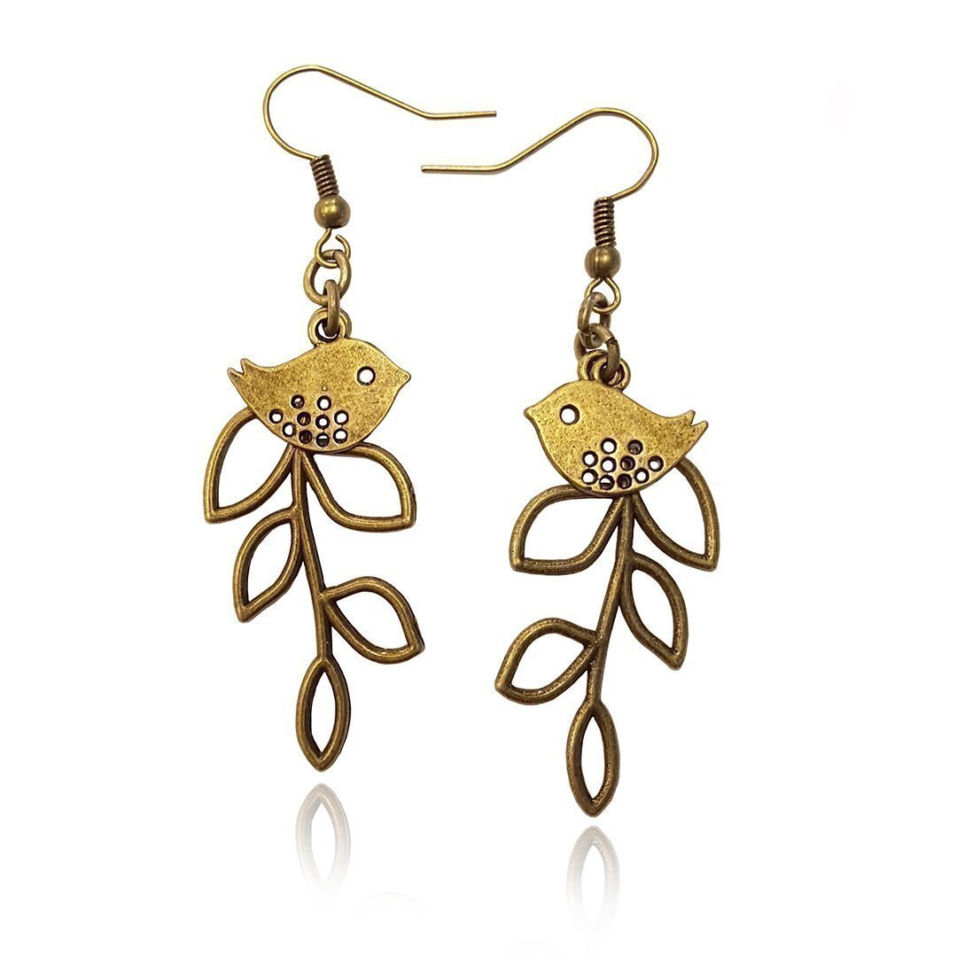 Bird and Branch Unique Tree Leaf Earrings, Bronze Tone Statement Fishhook Dangle Women's Earring Set