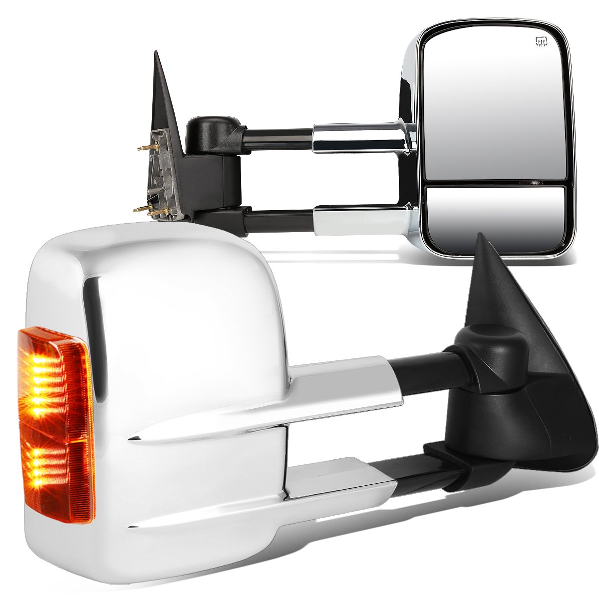 For Chevy Silverado/GMC Sierra GMT800 Pair of Powered + Heated Glass + Signal + Manual Extenable Side Towing Mirrors by Auto Dynasty
