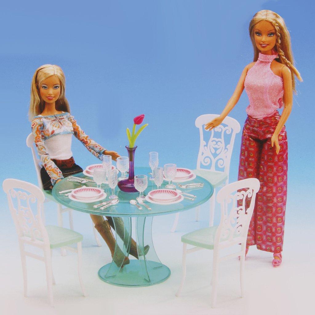 Amazon.es: Set Mesa Mueble de Comedor en Miniatura Plástico para Barbie Casa de Muñecas: Juguetes y juegos