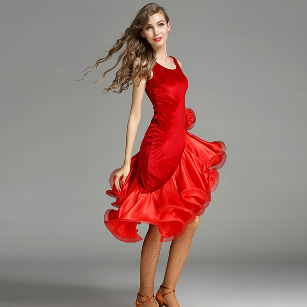 現代の女性の大きな振り子のファッションの袖なしモダンダンスドレスタンゴとワルツダンスドレスダンスコンペティションスカートラテンドレスダンスコスチューム B07HHNK4W2 Medium|Red Red Medium