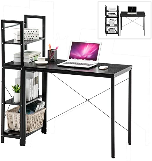 4 Tier Shelf Corner Computer Desk Wooden Workstation PC Laptop Home Table Study