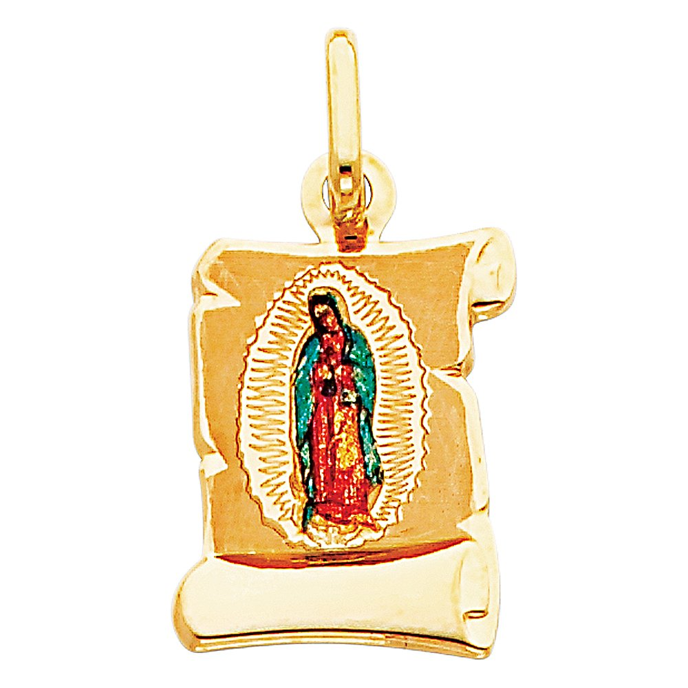 Million Charms 14k Yellow Gold Small//Mini Religious Virgen De Guadalupe Picture Pendant 21mm x 13mm