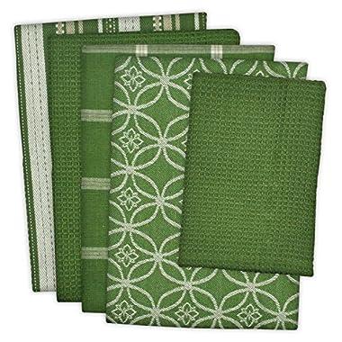 DII 100% Cotton, Ultra Absorbent, Oversized, Washing, Drying, Basic Everyday Kitchen Dishtowel 18 x 28  & Dishcloth 13 x 13 , Set of 5 - Sage