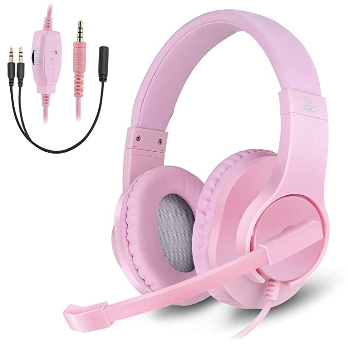 Diwuer Gaming Headset For Xbox One Ps4 Pc 3.5mm Stereo Bass Over Ear Headphones With Microphone Noise Isolation For I Phone I Pad Android Phones (Pink) by Diwuer