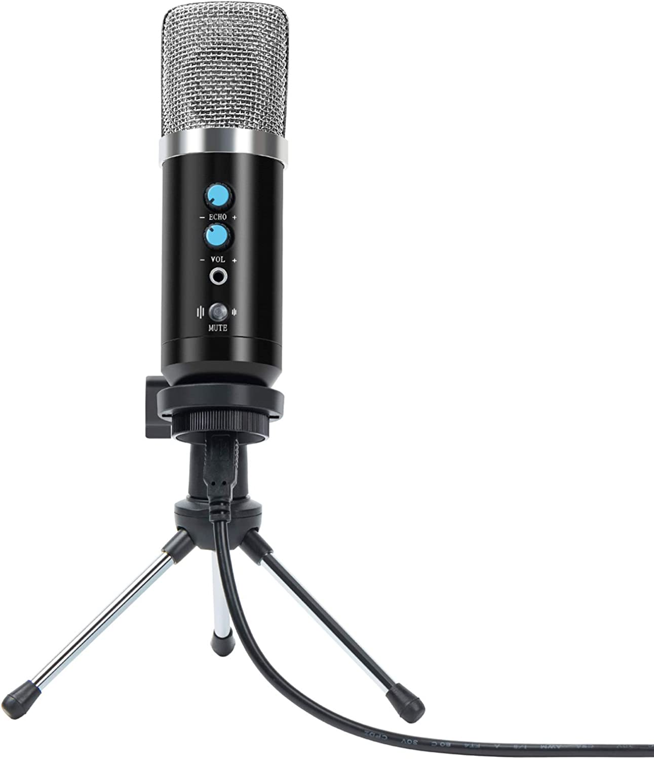 USB Microphone,VISMIX Condenser Microphone for PC Computer Laptop with Reverb Adjustment Cardioid Recording Mic for Podcast,Chatting, Gaming, Streaming, Broadcast,etc