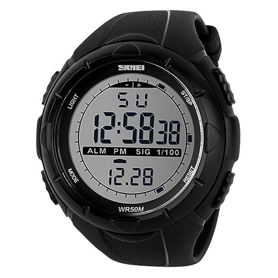 Reloj pantalla digital,Clásico del diseño simple impermeable led deportes al aire libre reloj electrónico montañismo-D: Amazon.es: Relojes