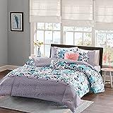 Intelligent Design Delle Comforter Set Full/Queen Size - Blue, Floral Stripes – 5 Piece Bed Sets – Ultra Soft Microfiber Teen Bedding For Girls Bedroom
