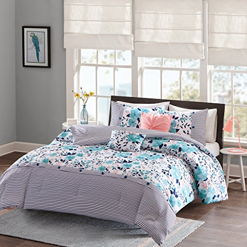 Intelligent Design Delle Comforter Set Full/Queen Size - Blue , Floral Stripes - 5 Piece Bed Sets - Ultra Soft Microfiber Teen Bedding For Girls Bedroom
