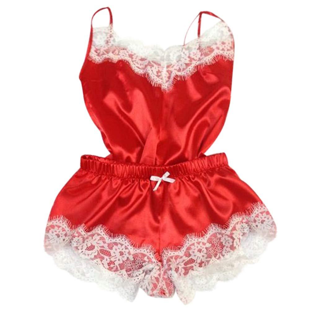 Womens Lace Satin Sleepwear Lingerie Temptation Babydoll Cami Top and Shorts Pajama Set