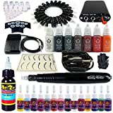 Solong Tattoo Hybrid Tattoo Pen Kit 2-In-1 Rotary Tattoo Machine & Permanent Makeup Pen 20 Needle Cartridges Ink Set Power Supply Foot Pedal Skin Caps EK101-1