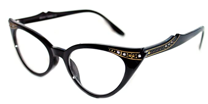 5a9410c64ab WOMEN S CAT EYE SMALL RETRO GRADIENT FRAME CLEAR LENS GLASSES WITH GOLD  RHINESTONES (All Black