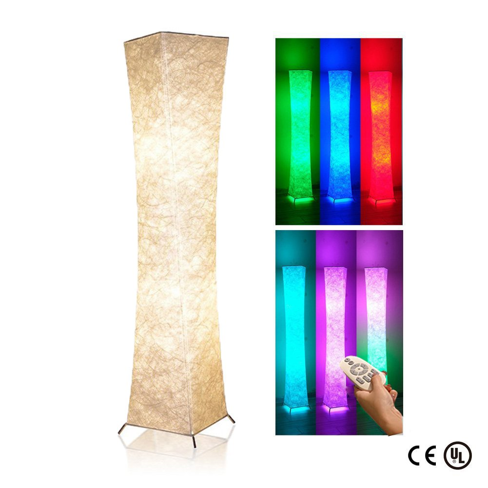 Soft Light Floor Lamp, 52'' LEONC Twist RGB Color Changing Tyvek Fabric Shade Dimmable Remote Control and 2 Smart LED Bulbs for Livingroom