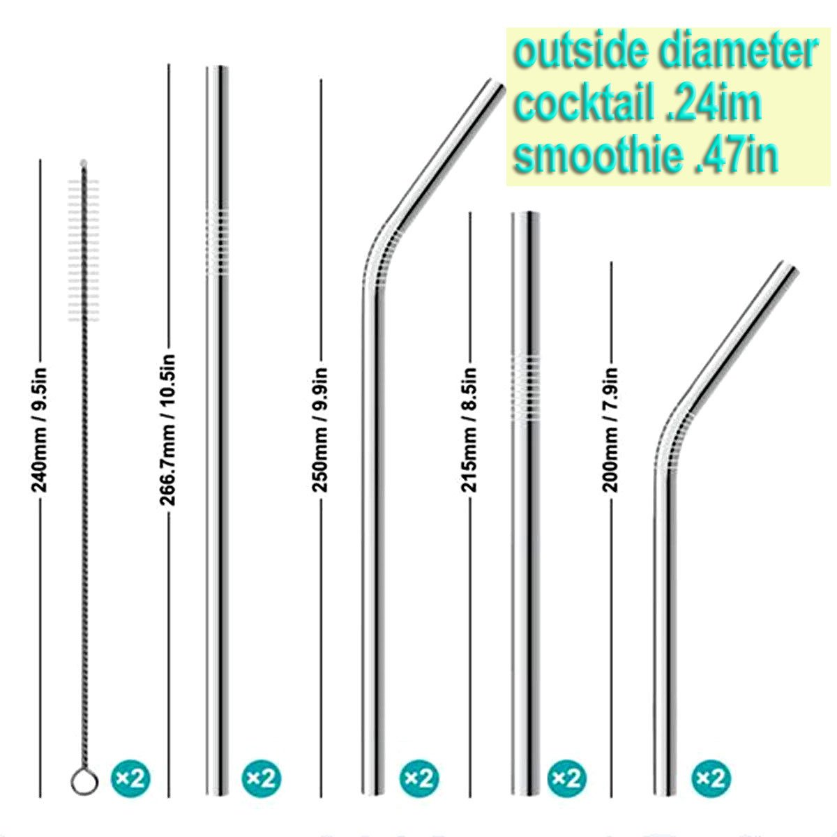 Stainless Steel Straws, Set of 12 Reusable Metal Drinking Straws with Cleaning Brushes in a black velour pouch for 30oz 20oz Tumblers Cups Mugs Yeti Rambler Rtic Ozark Trail (Silver)