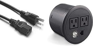 Desktop Power Grommet,Table Power Outlet with Usb Charging Station,Desk Outlet Desktop Recessed Power Strip with 2 Outlet 2 USB 1 RJ45 Ports for Cable Management Slot/Office Desk/Conference Table
