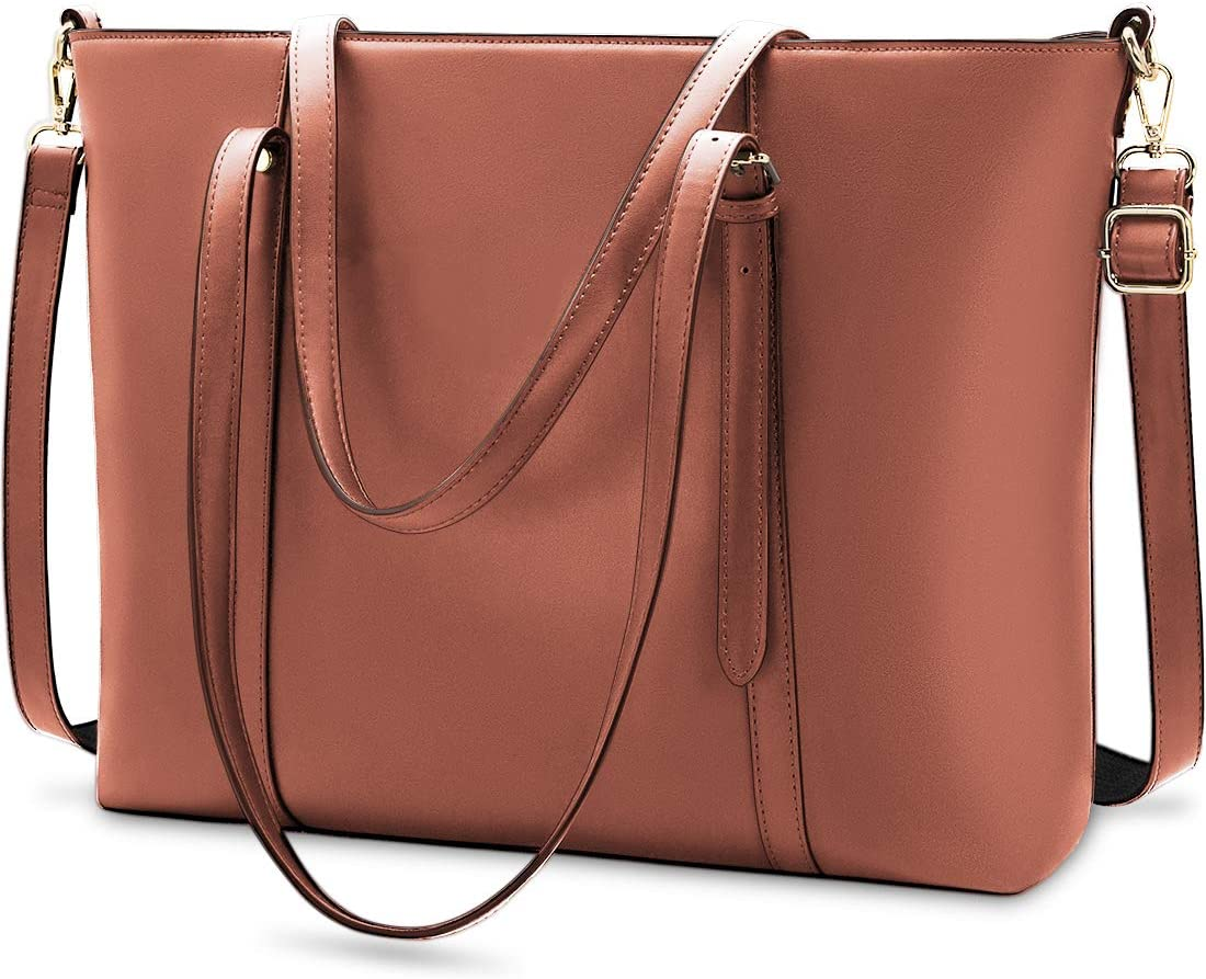 Laptop Bag for Women Lightweight Leather Work Tote Waterproof Business Office School Computer Bag for 15.6 Inch Laptop & Tablet Professional Large Capacity Briefcase Handbag Shoulder Bag Black Coffee