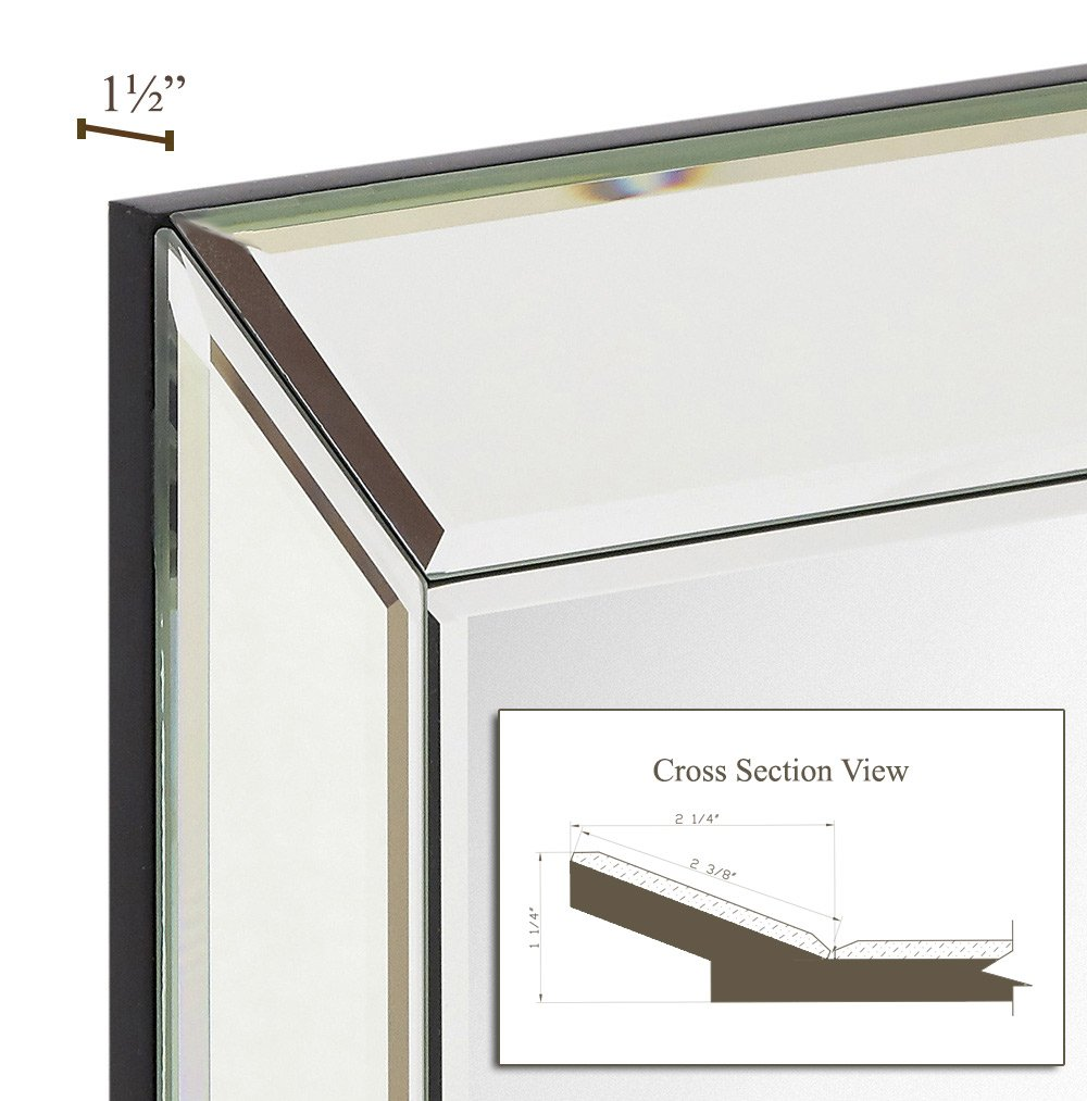 Bedroom Or Bathroom Mirrored Rectangle Hangs Horizontal Or Vertical 51cm x 76cm Hamilton Hills Large Framed Wall Mirror With Angled Beveled Mirror Frame Silver Backed Glass Panel Vanity