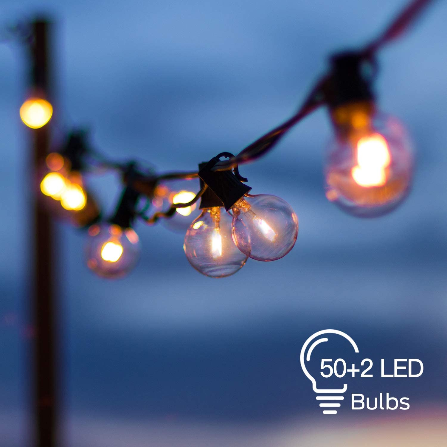 LED Globe String Lights Outdoor with 52 Clear G40 Bulbs (2 Spare), 54 Ft Hanging String Lights Connectable Waterproof for Indoor Bedroom Patio Garden Porch Wedding Party Christmas, 1W Bulb, Black Wire