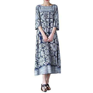 0e66eb26ce8 Ruhiku GW Women s Boho Dress Plus Size Vintage Floral Print Maxi Crew Neck  Casual Loose Long