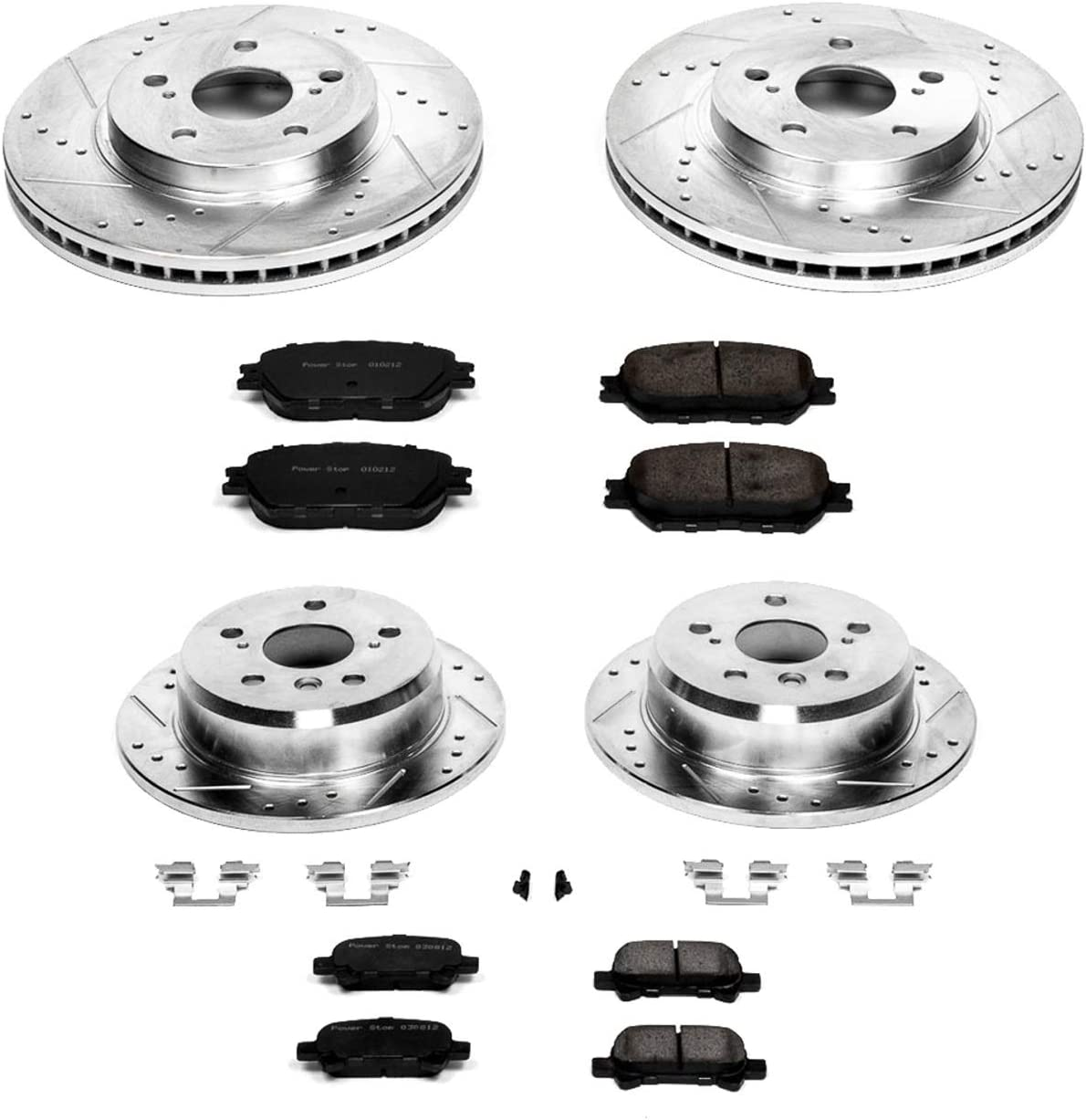 Power Stop K1374 Front and Rear Z23 Evolution Brake Kit with Drilled//Slotted Rotors and Ceramic Brake Pads