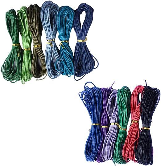 IPOTCH 12 Colores Hilo de Algodón Encerado Cuerda Cable para ...