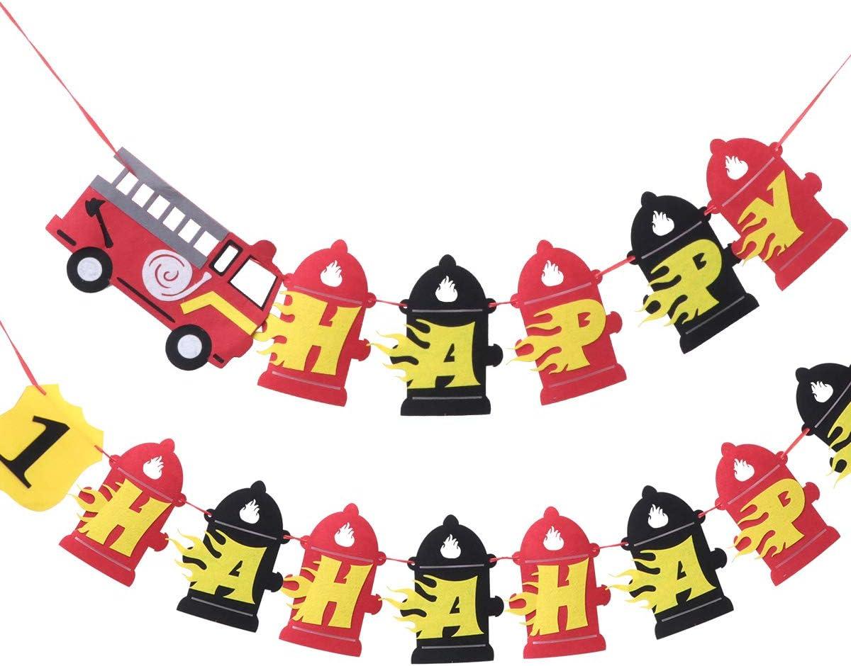 Amosfun Joyeux Anniversaire Banni/ère Toile de Jute Pompier Pompier Baby Shower Bruant Banni/ère Banni/ère Tenture Guirlande Drapeau Fond Photo Accessoires