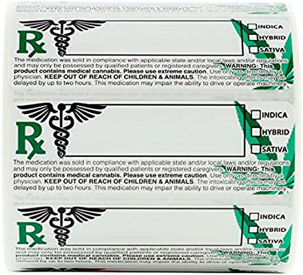 """Dragon Chewer Generic Medical Identification Labels 1,000 pc Roll Universal Compliant Leaf Stickers 3/""""x1/"""""""