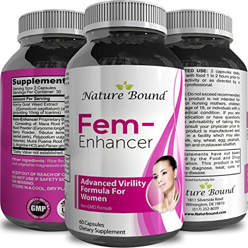 Natural Female Enhancement Pills – Boost Bust Size & Improve Shape – Avoid Weight Gain Elsewhere – Enlargement Supplements for Women – Pure Horny Goat Weed + Gingseng + L Arginine – Nature Bound